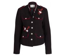 Jacke mit Stickereien - schwarz