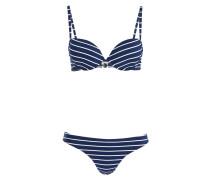 Push-up-Bikini - navy/ weiss gestreift