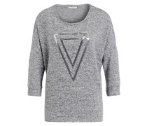 Shirt mit Paillettenbesatz - grau meliert