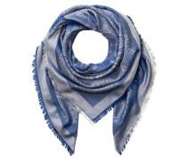 Tuch mit Seidenanteil - blau/ hellgrau