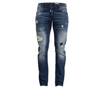 Destroyed-Jeans FREDO Slim-Fit - blau