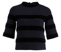 Pullover mit Samtbesatz - marine/ schwarz