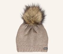 Mütze FOLINA LUX mit Kunstfellbommel und