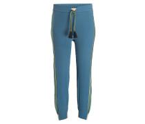 Seidenhose im Jogging-Stil - blau/ petrol