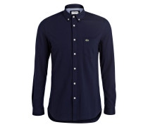Piqué-Hemd Slim-Fit - navy