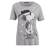 T-Shirt - grau meliert/weiss