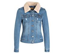 Jeansjacke mit Besatz in Felloptik - blau