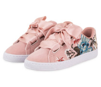 Samt-Sneaker BASKET - hellrosa/ türkis