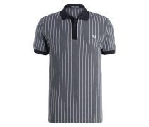 Piqué-Poloshirt - grau/ weiss