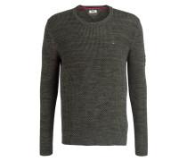 Grobstrick-Pullover - grün meliert
