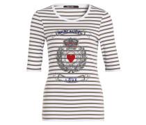 T-Shirt - oliv/ weiss gestreift