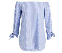 Off-Shoulder-Bluse - weiss/ blau gestreift