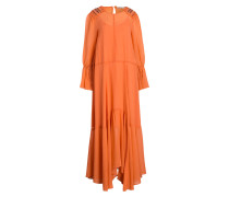 Maxikleid aus Seide - orange