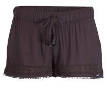 Shorts mit Häkelspitzeneinsatz - schwarz