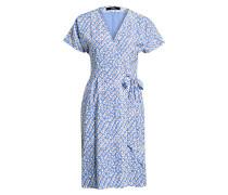 Wickelkleid aus Seide - blau