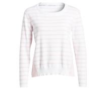 Pullover im Materialmix - rosa