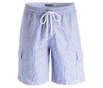 Cargo-Shorts aus Leinen - blau