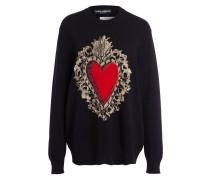 Pullover - schwarz/ rot/ gold