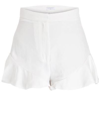 Shorts mit Leinenanteil - weiss