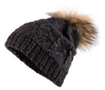 Mütze mit Pelzbommel - anthrazit
