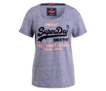 T-Shirt - blaugrau meliert/ schwarz/ pink