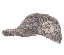 Cap mit Spitzenbesatz - grau/ silber