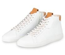 Hightop-Sneaker - WEISS/ COGNAC