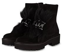 Boots BOBBY mit Fellbesatz - schwarz