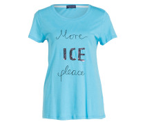 T-Shirt mit Paillettenbesatz - hellblau