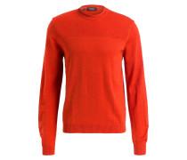 Schurwoll-Pullover - orangerot
