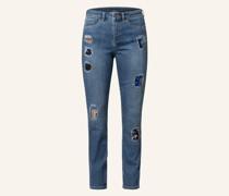 Destroyed Jeans mit Paillettenbesatz
