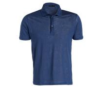 Leinen-Poloshirt - blau