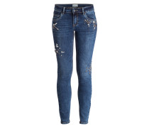 Jeans mit Schmucksteinbesatz - dunkelblau