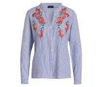 Bluse mit Stickereien - weiss/ blau