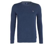 Piqué-Pullover - blau