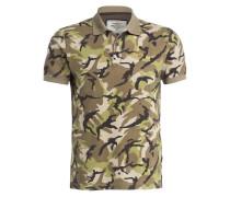Piqué-Poloshirt - khaki/ dunkelbraun/ oliv