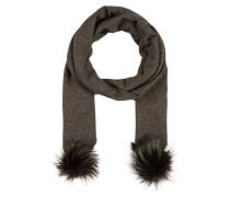 Schal mit Fellbommel - khaki