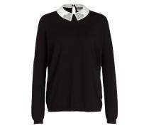 Pullover mit abnehmbarem Satinkragen