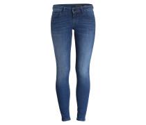 Skinny-Jeans - deep sea stretch blau