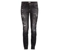 Jeans mit Schmucksteinbesatz - black denim