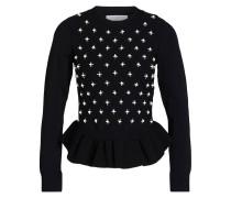Pullover mit Perlenbesatz - schwarz