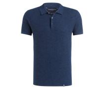 Strick-Poloshirt mit Leinenanteil - blau