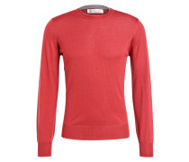 Cashmere/Seide-Pullover - rot