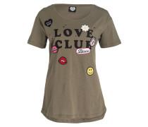 T-Shirt - oliv meliert/ schwarz