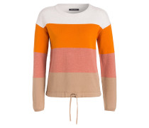 Pullover - orange/ rosa/ beige gestreift