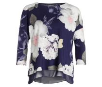 Bluse BERTHA mit 3/4-Arm - violet/ weiss