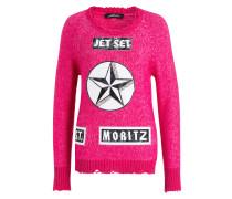 Pullover mit Badges - pink