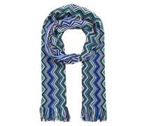 Schal - blau/ grün/ ecru