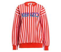 Sweatshirt - orangenrot/ hellrosa