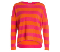 Cashmere-Pullover - orange/ pink gestreift